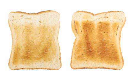 Geröstete Brotscheibe isoliert über dem weißen Hintergrund, Set bestehend aus zwei Bildern