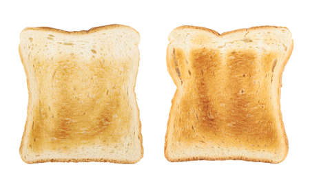Geroosterd sneetje brood geïsoleerd op de witte achtergrond, set van twee beelden Stockfoto