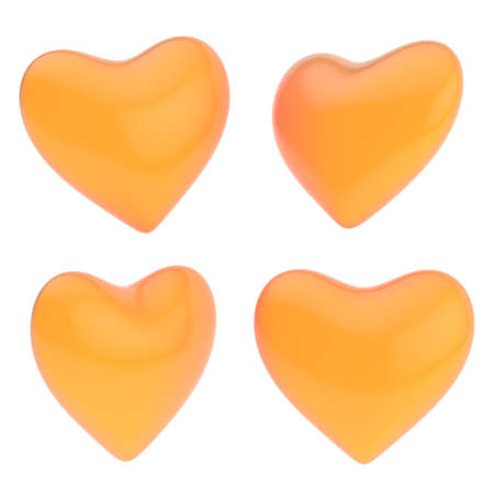 Glossy orange heart shape isolated over the white background, set of four foreshortenings photo