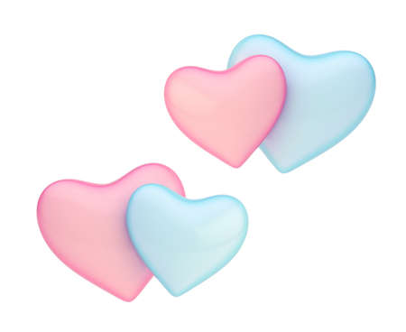 Two, pink and blue hearts composition isolated over the white background, set of two color versions photo