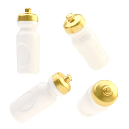Drinking white plastic with golden cap sport bottle, isolated over the white background, set of four foreshortenings photo