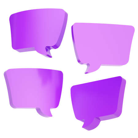 Text bubble violet dimensional shapes isolated over the white background, set of four foreshortenings photo