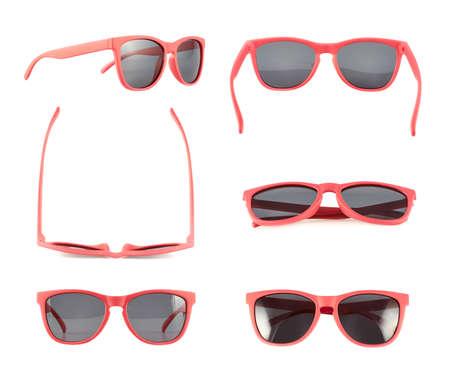 Rode zonnebril die over de witte achtergrond, set van zes foreshortenings Stockfoto