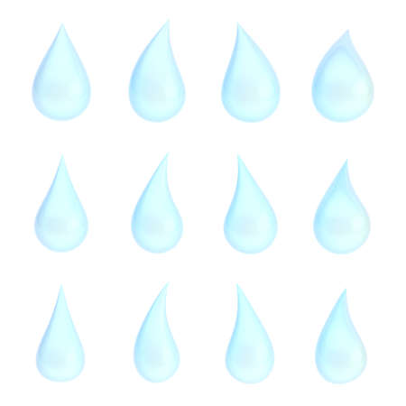 Set of twelve different light blue liquid drops isolated over the white background photo