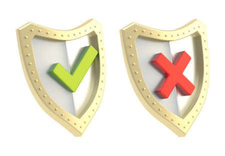 Yes green tick and no red cross mark signs over the shield surface isolated on white background photo