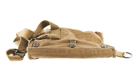 Brown army shoulder bag isolated over the white background photo