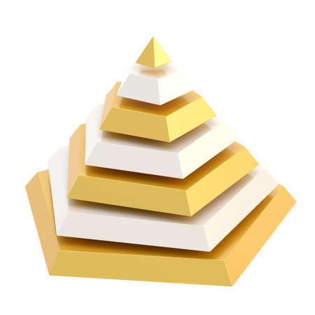 segment: Pyramid divided into seven, white and golden segment layers, isolated over the white background Stock Photo