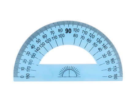 Blue plastic protractor ruler, isolated over the white background Standard-Bild
