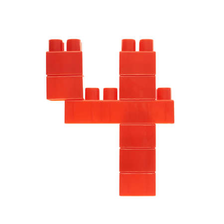 Number four made of toy construction building bricks isolated over the white background Stock Photo