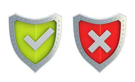 Yes tick and no cross mark signs over the shield surface isolated on white background, front view photo