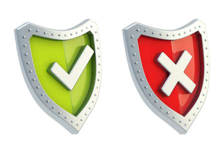 Yes tick and no cross mark signs over the shield surface isolated on white background photo