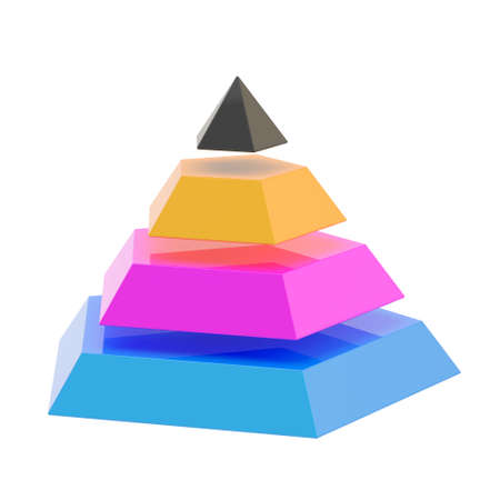 Pyramid divided into four cmyk colored segment layers, isolated over the white background