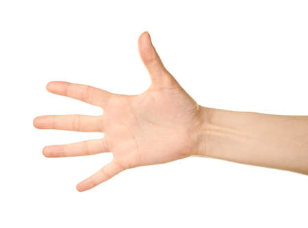 Female caucasian hand gesture of an opened palm isolated over the white background