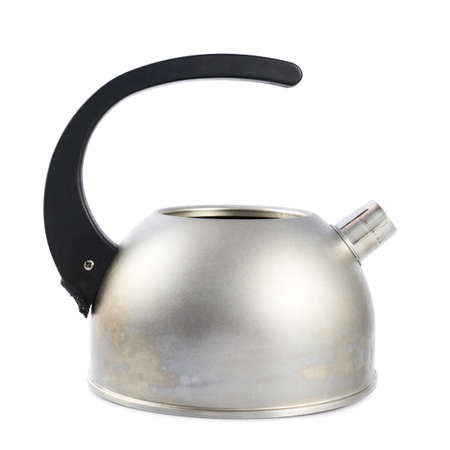 stovetop: Old metal stovetop kettle with a black handle isolated over the white background Stock Photo