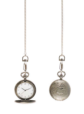 Closed and opened silver pocket watch on a chain isolated over the white background Stock Photo