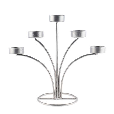 candelabrum: Five tea candles metal candelabrum isolated over the white background Stock Photo
