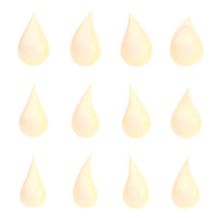 Set of twelve different creamy peach colored liquid drops isolated over the white background photo