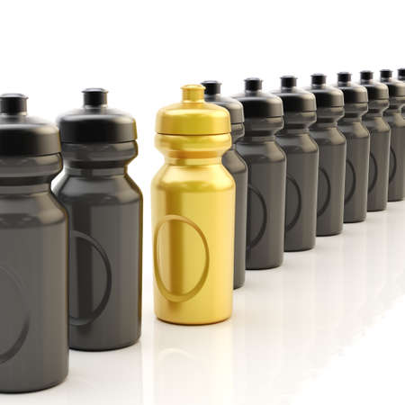 chosen one: Composition of plastic black and golden drinking sport bottles arranged in a line, over the white reflective surface Stock Photo