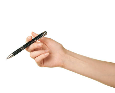 Female caucasian hand holding black pen, isolated over the white background photo