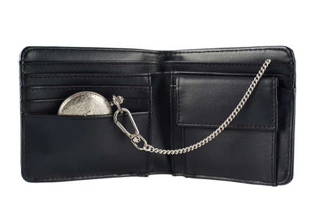 billfold: Old pocket watch in a black leather wallet billfold, isolated over the white background Stock Photo
