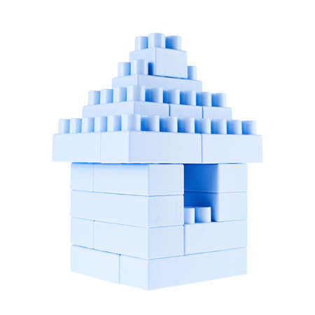 plastic bricks: Small home building made of toy construction blue plastic bricks isolated over the white background