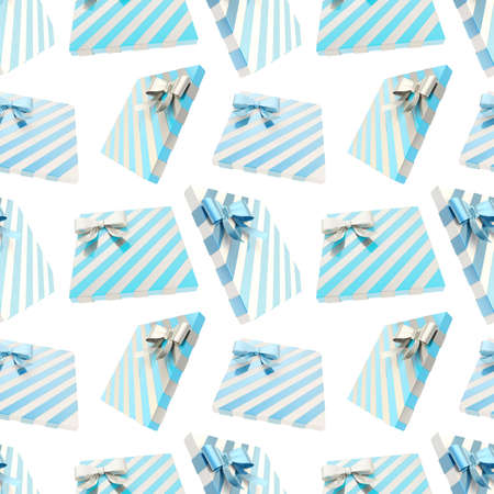 metal pettern: Seamless festive background pattern made of multiple blue and silver gift boxes over white background