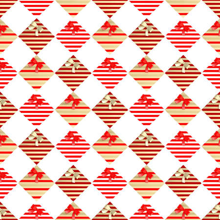metal pettern: Seamless festive background pattern made of multiple red and golden gift boxes over white background Stock Photo