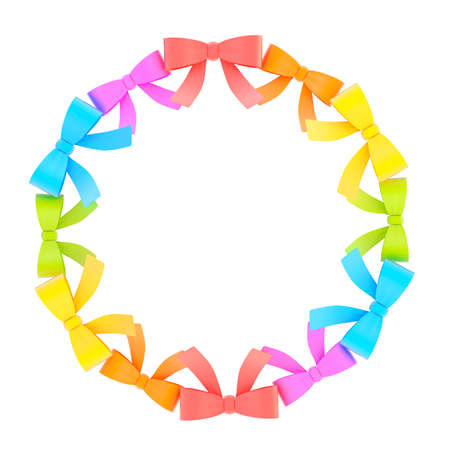 Round empty copyspace frame made of colorful ribbon bows isolated over the white background photo