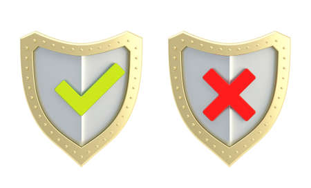 Yes green tick and no red cross mark signs over the shield surface isolated on white background, front view photo