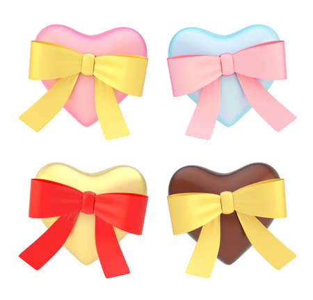 Glossy heart covered with the ribbon bow isolated over the white background, set of four color variations photo