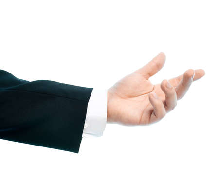 Dressed in a business suit caucasian male hand gesture of asking for the help, high-key light composition isolated over the white background