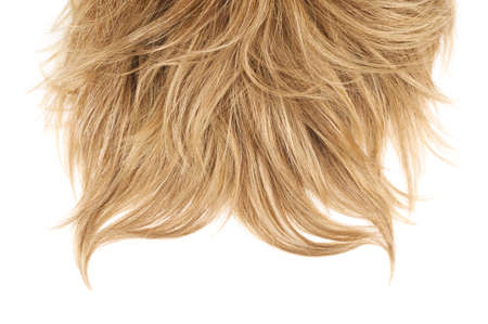 artificial hair: Open wave hair fragment placed over the white background as a copyspace backdrop composition
