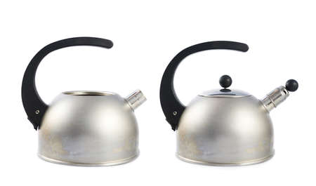 stovetop: Old metal stovetop kettle with a black handle isolated over the white background, set of two images, with and without the whistle cap