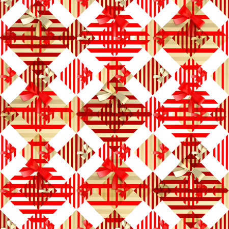 metal pettern: Seamless background made of a red gift boxes abstract ornament composition