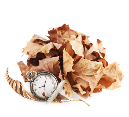 timekeeping: Opened pocket watch next to a pile of a dried maple leaves, isolated over the white background