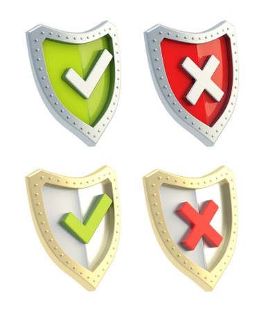 Yes tick and no cross mark signs over the shield surface isolated on white background, set of two color versions photo