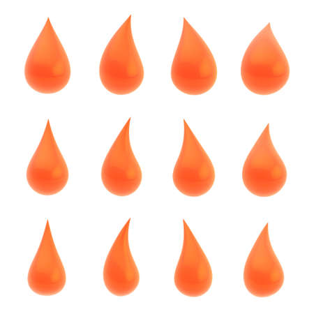 Set of twelve different bright orange liquid drops isolated over the white background photo