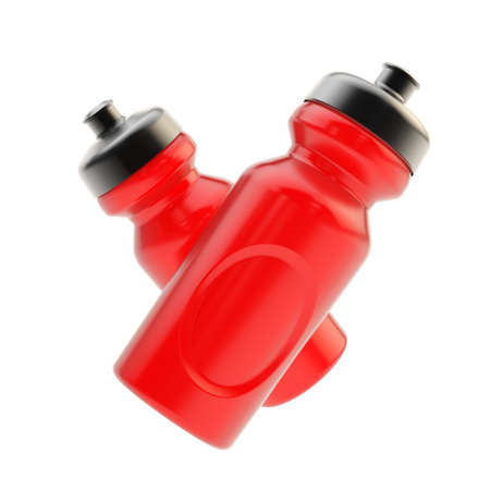Two drinking red plastic sport bottles composition isolated over the white background photo