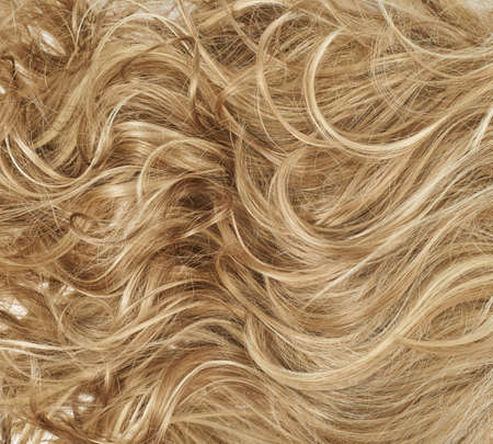 long blonde hair: Curly hair fragment as a texture background composition Stock Photo