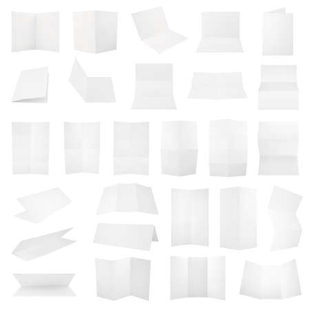 Multiple folded A4 white paper sheet set with the realistic shading, eps10 vector illustration Vector