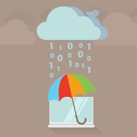 Cloud service protection and encryption, flat style vector illustration Vector