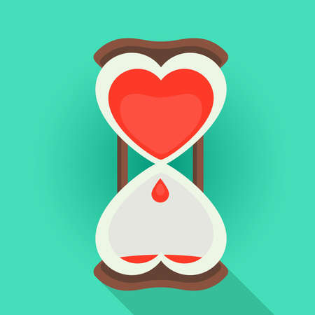 Spending time in love flat style vector illustration of a sandglass watches with the bleeding heart shape inside