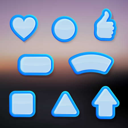 Set of eight differently shaped blue glossy vector buttons, color layer is separate and easy to edit Vector