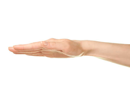 Female caucasian hand gesture of an opened palm isolated over the white background photo
