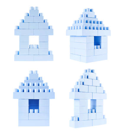 plastic bricks: Small home building made of toy construction blue plastic bricks isolated over the white background, set of four foreshortenings Stock Photo