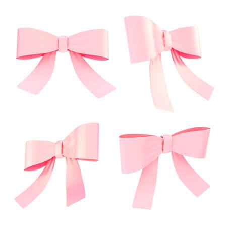 moño rosa: Conjunto de arcos de la cinta de color rosa claro decorational en cuatro escorzos diferentes, aislados sobre fondo blanco