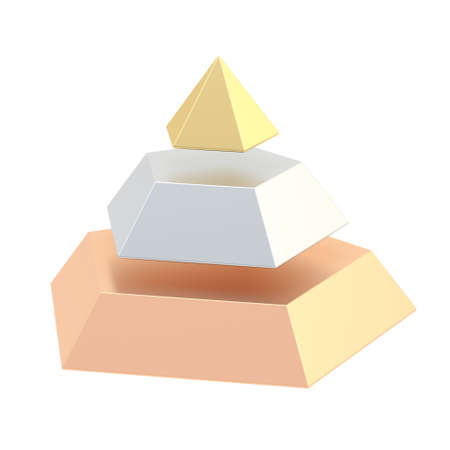 three layered: Pyramid divided into three, golden, silver and bronze segment layers, isolated over the white background