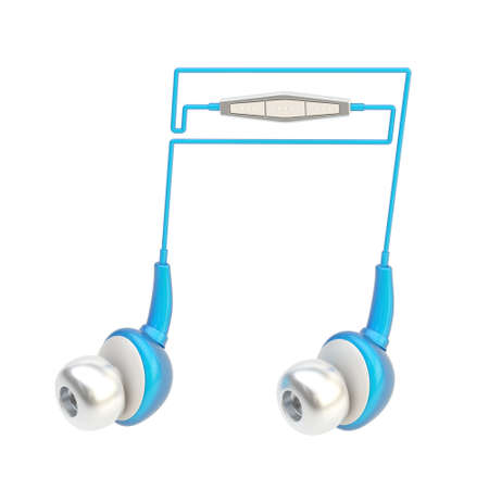 Musical notation note sign made of blue and silver in-ear headphones isolated over the white background photo