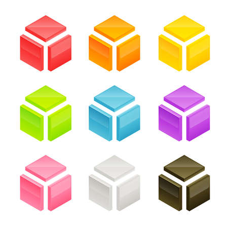 orthographic: Abstract vector cube shape made of orthographic blocks, shading and color layers are separate, easy to edit