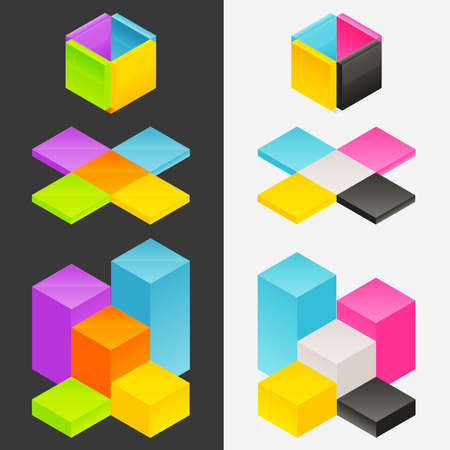 orthographic: Unfolding orthographic cube shape as a set of infographic vector elements